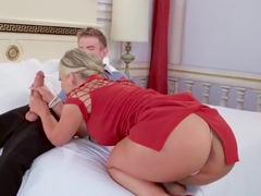 Hot Phoenix Marie in her red dress doing a spectacular blowjob