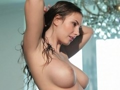 Babe with big natural tits in action