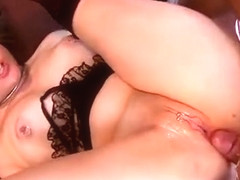 Brunette Pornstar Double Penetration And Tits Cumshot