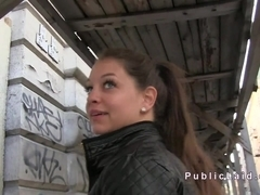 Euro amateur babe fucks huge cock in public