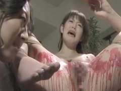 Horny Asian hottie covered in wax!