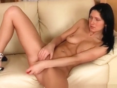 Rachel Grey is alone and horny taking care of that with her dildo