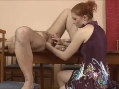 Cute Domina fisting and footing male a-hole