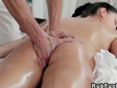 Masseur fucks and creampies busty babe