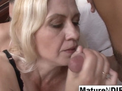 Slutty Blonde Grandma Takes Two Loads On Her Face - MatureNDirty