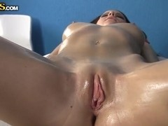 Sexy nude massage gets Mikaela extremely horny.