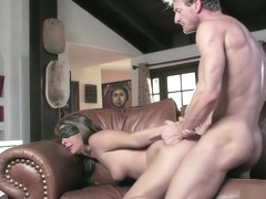 Alluring blonde gets blindfolded and pounded hard all over the couch