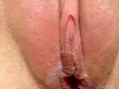 Hairy dick gives a shaved pussy a very messy creampie