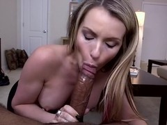 Blonde slut swallows an interracial load