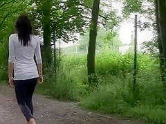 Lewd German Whore from old bag outdoors screwed on a public way...