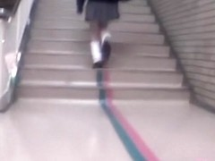 Hot Asian girl gets skirt sharked up in empty corridor