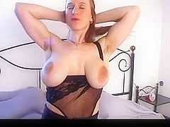 Breasty beauty with large saggy titties & shaggy twat masturbates