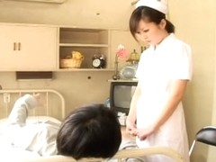 Innocent looking Japanese naughty nurse screwed hard