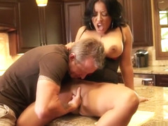 Striking milf with amazing big hooters Kiara Mia enjoys a hard fucking