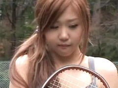 This Asian hottie loves playing tennis naked public flash