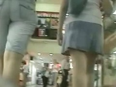 shopping mall shots upskirt of a lovely chick in a thong