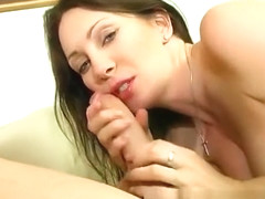 Big tit Rayveness gives him a lesson on just how good head feels