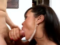 Exotic pornstar Lisa Ann in amazing brunette, facial adult clip