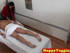 Real asian masseuse jerks infront of spycam