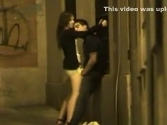 Voyeur tapes a partyslut humping a guy upskirt in public