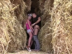 Cyclist college girl Bimbo Fucks by Haystacks