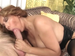 Mature Wildcat Nikki Ferrari Sucks on a Big Cock and Takes It in Her Twat